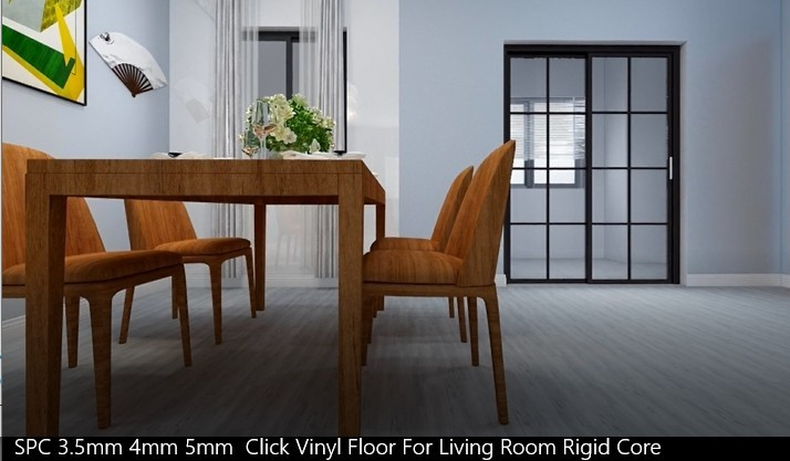 SPC 3.5mm 4mm 5mm Click Vinyl Floor For Living Room Rigid Core