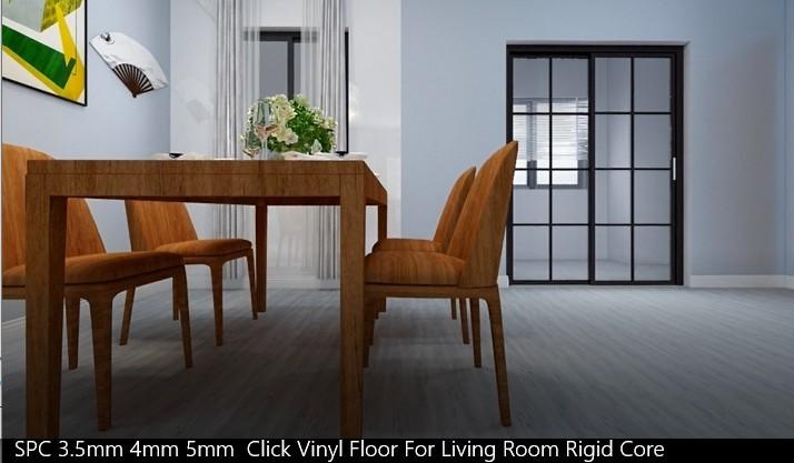 SPC 3.5mm 4mm 5mm Click Vinyl Floor For Living Room Rigid Core